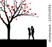 silhouette of a couple and tree ... | Shutterstock . vector #121514554