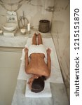 peaceful lady having towel on... | Shutterstock . vector #1215151870