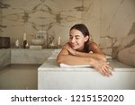 soft skin. peaceful relaxed... | Shutterstock . vector #1215152020