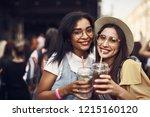 cheers. portrait of young... | Shutterstock . vector #1215160120