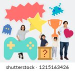 happy family holding gaming... | Shutterstock . vector #1215163426