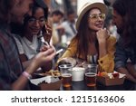 portrait of young people... | Shutterstock . vector #1215163606