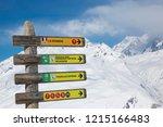 sign posts at altitude in la... | Shutterstock . vector #1215166483