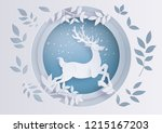 deer in forest with snow in the ... | Shutterstock .eps vector #1215167203