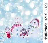 family snowmans on snow. mother ... | Shutterstock . vector #1215173170