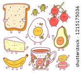 breakfast characters set ... | Shutterstock .eps vector #1215175036