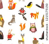 raccoon and wolf  fox and owl... | Shutterstock .eps vector #1215175150