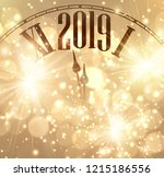 gold shiny bokeh new year 2019... | Shutterstock .eps vector #1215186556