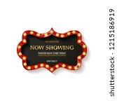 retro cinema bulb sign shape  ... | Shutterstock .eps vector #1215186919