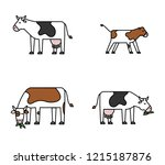 animal icon set   cows | Shutterstock .eps vector #1215187876