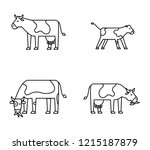 animal icon set   cows | Shutterstock .eps vector #1215187879