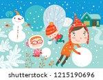 landscape with cute children in ... | Shutterstock .eps vector #1215190696