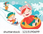 landscape with cute children in ... | Shutterstock .eps vector #1215190699
