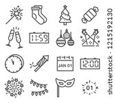 happy new year line icons set.... | Shutterstock .eps vector #1215192130