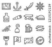 pirates icons set. sabre ... | Shutterstock .eps vector #1215192139