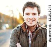 handsome man outdoors portrait. ... | Shutterstock . vector #121519246