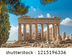 beautiful view on the parthenon ... | Shutterstock . vector #1215196336