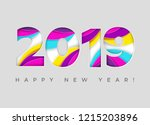2019 happy new year vector card.... | Shutterstock .eps vector #1215203896
