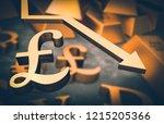 golden pound symbol and golden... | Shutterstock . vector #1215205366