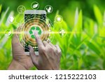 hand holding smartphone with...   Shutterstock . vector #1215222103