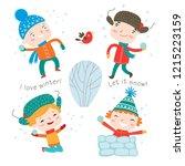 winter child's outdoor... | Shutterstock .eps vector #1215223159