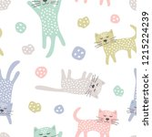 childish seamless pattern with... | Shutterstock . vector #1215224239