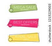 flat colorful shaped banners ...   Shutterstock .eps vector #1215229003