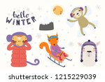 big set with cute animals in... | Shutterstock .eps vector #1215229039