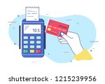 hand holding debit or credit... | Shutterstock .eps vector #1215239956