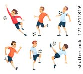 soccer characters playing... | Shutterstock . vector #1215241819