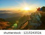 people meeting sunrise in... | Shutterstock . vector #1215243526