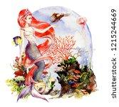 mermaid with scarlet hair on... | Shutterstock . vector #1215244669