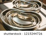 stainless steel trays for... | Shutterstock . vector #1215244726