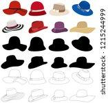 set of women's hats | Shutterstock .eps vector #1215244999