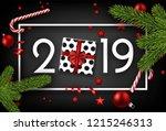 black 2019 happy new year... | Shutterstock .eps vector #1215246313