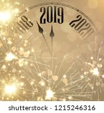 gold shiny new year 2019 card... | Shutterstock .eps vector #1215246316