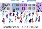 crowd of tiny people dressed in ... | Shutterstock .eps vector #1215248059