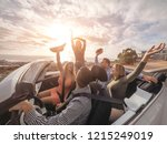 happy friends with their hands... | Shutterstock . vector #1215249019