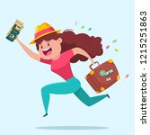 travel vector illustration with ... | Shutterstock .eps vector #1215251863