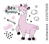 beautiful pink llama and the... | Shutterstock .eps vector #1215270103