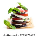 stack  of grilled eggplant with ... | Shutterstock . vector #1215271699