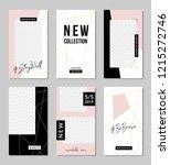 a set of six editable vertical... | Shutterstock .eps vector #1215272746