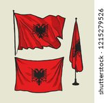 flag of albania on the wind and ...   Shutterstock .eps vector #1215279526