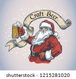 cheerful santa claus with a mug ... | Shutterstock .eps vector #1215281020