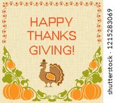 embroidered thanksgiving card... | Shutterstock .eps vector #1215283069
