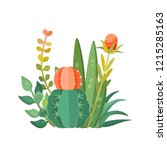 tropical house plants and... | Shutterstock .eps vector #1215285163