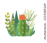tropical house plants and... | Shutterstock .eps vector #1215285169