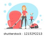 woman clean the house and... | Shutterstock .eps vector #1215292213