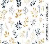gold and blue floral seamless... | Shutterstock .eps vector #1215292810
