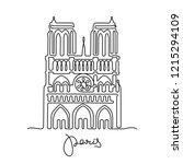 notre dame de paris cathedral.... | Shutterstock .eps vector #1215294109